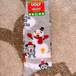 Ugly sweater men's crew socks SNOWMAN